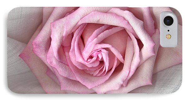 Pink Rose And Linen Phone Case by Sandra Foster