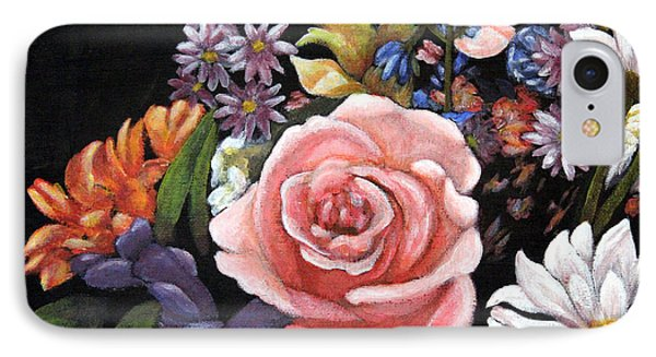 IPhone Case featuring the painting Pink Rose Floral Painting by Judy Filarecki