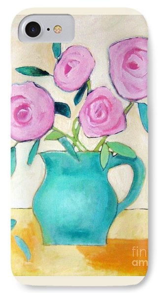 Pink Roses In A Green Vase Phone Case by Venus