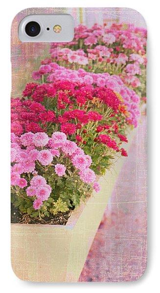 Pink Sidewalk Flowerbox IPhone Case by Karen Stephenson
