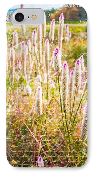 Pink Spiky Flowers With French Handwriting Phone Case by Karen Stephenson