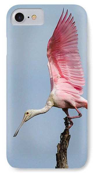 Pink Spoonbill Ready For Takeoff Phone Case by Bill Swindaman