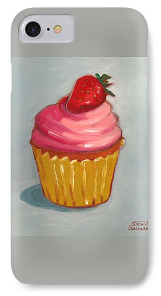IPhone Case featuring the painting Pink Strawberry Cupcake by Susan Thomas