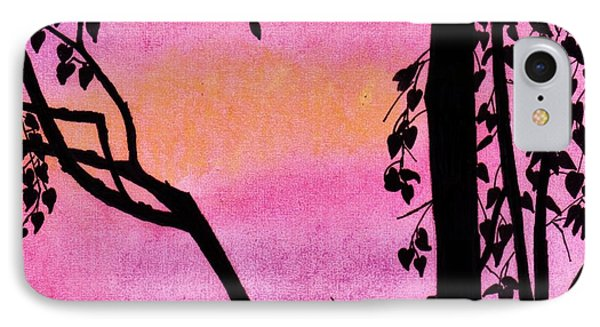 IPhone Case featuring the drawing Pink Sky Sunset by D Hackett