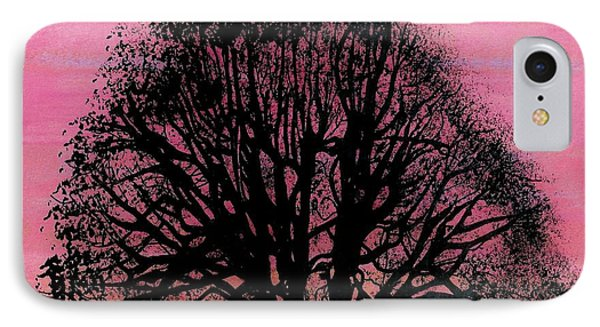 IPhone Case featuring the drawing Pink Sunset Tree by D Hackett