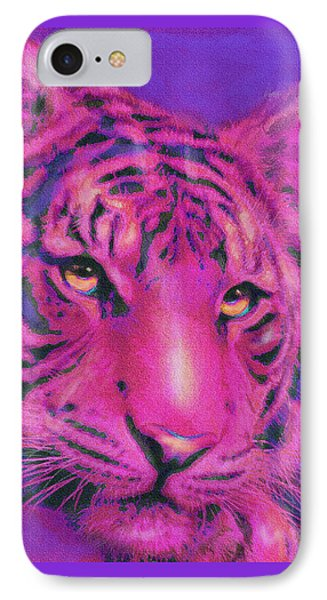 IPhone Case featuring the digital art Pink Tiger by Jane Schnetlage
