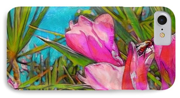 Pink Tropical Flower With Honeybee - Square IPhone Case by Lyn Voytershark