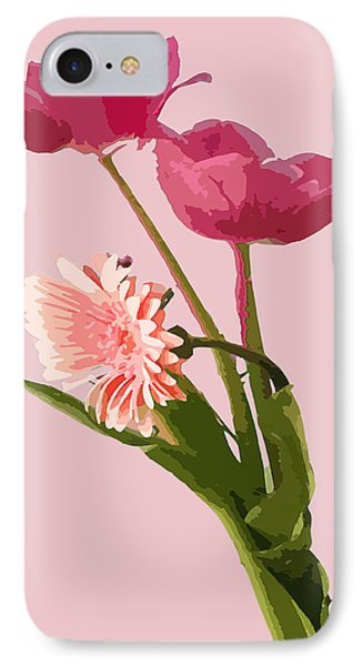 Pink Tulips And Daisy IPhone Case by Karen Nicholson