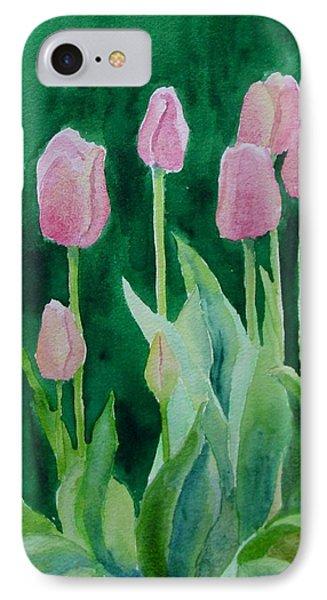 Pink Tulips Colorful Flowers Garden Art Original Watercolor Painting Artist K. Joann Russell IPhone Case