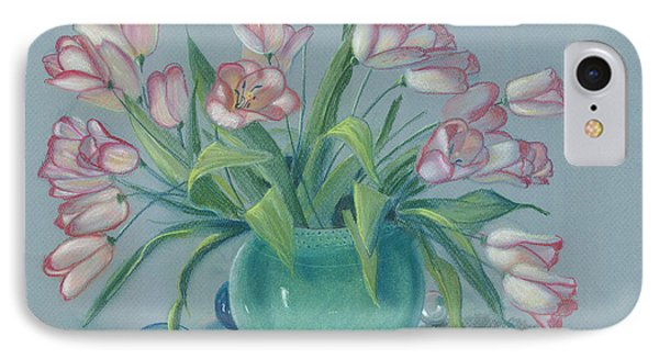 IPhone Case featuring the painting Pink Tulips In Green Vase by Dan Redmon