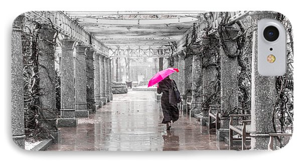 Pink Umbrella In A Storm IPhone Case