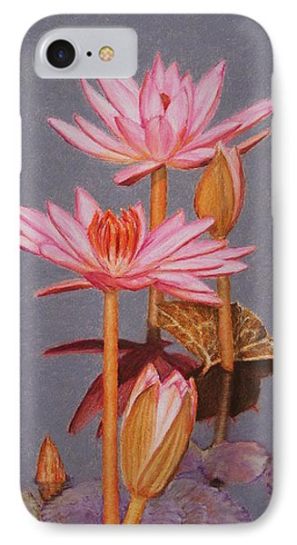 Pink Water Lilies IPhone Case by Marna Edwards Flavell