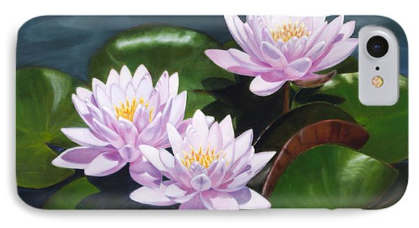 Pink Water Lilies - Oil Painting On Canvas IPhone Case
