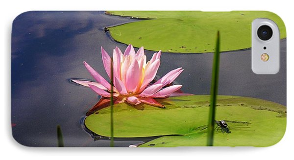Pink Water Lily And Dragonfly Phone Case by Sherman Perry