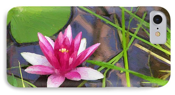 IPhone Case featuring the painting Pink Water Lily by Doug Kreuger