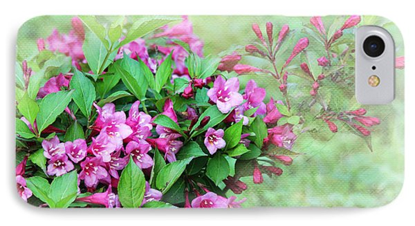 IPhone Case featuring the photograph Pink Weigela by Trina  Ansel