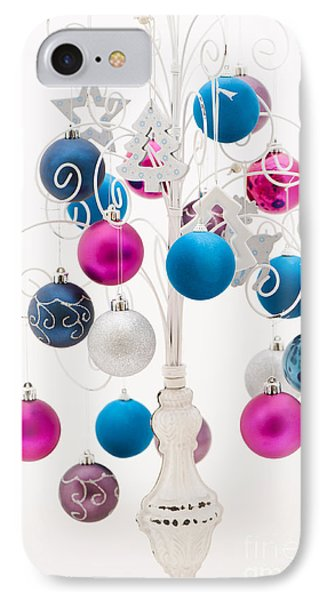 Pink White And Blue Christmas Phone Case by Anne Gilbert
