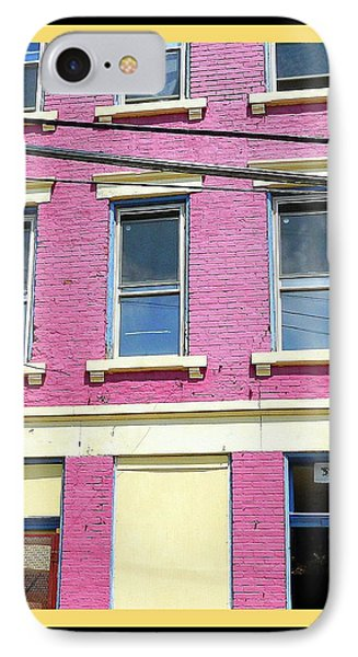 IPhone Case featuring the photograph Pink Yellow Blue Building by Kathy Barney