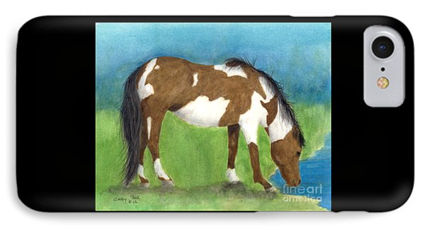 Pinto Mustang Horse Mare Farm Ranch Animal Art Phone Case by Cathy Peek