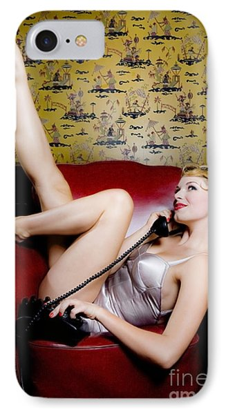 Pinup Girl With Phone Phone Case by Diane Diederich