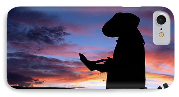 Pioneer Silhouette Reading Letter Phone Case by Cindy Singleton