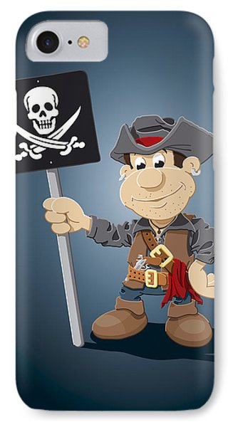 Pirate Cartoon Man Jolly Roger Sign IPhone Case