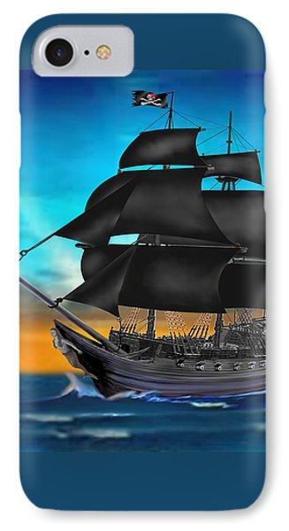 Pirate Ship At Sunset IPhone Case by Glenn Holbrook