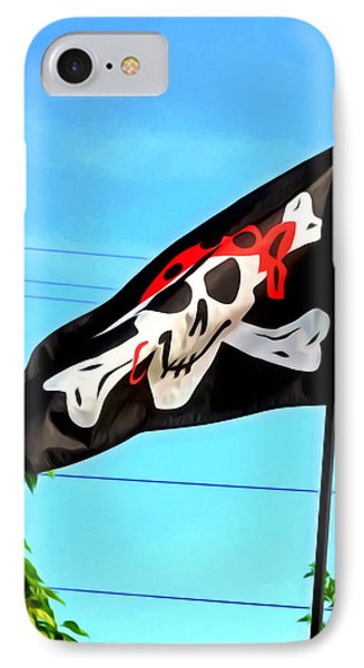 Pirate Ship Flag Of The Skull And Crossbones Phone Case by Lanjee Chee