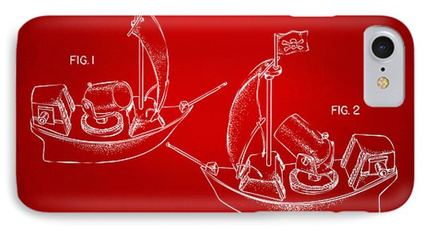 Pirate Ship Patent Artwork - Red IPhone Case by Nikki Marie Smith
