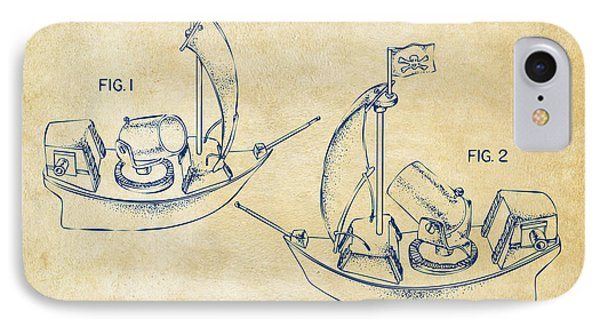 Pirate Ship Patent Artwork - Vintage Phone Case by Nikki Marie Smith
