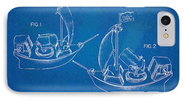 Pirate Ship Patent - Blueprint IPhone Case by Nikki Marie Smith
