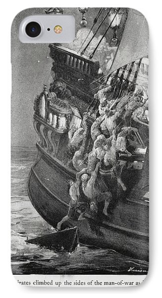Pirates Boarding A Ship IPhone Case by British Library