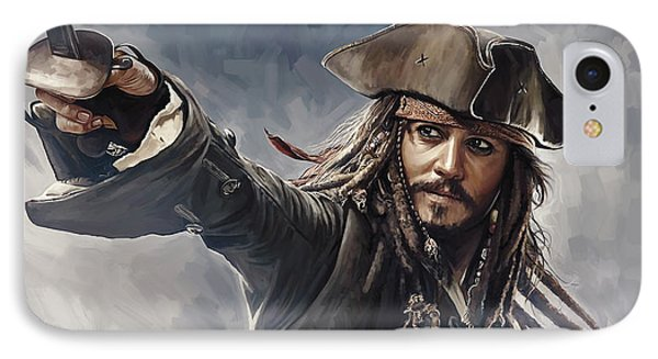Pirates Of The Caribbean Johnny Depp Artwork 2 IPhone Case by Sheraz A