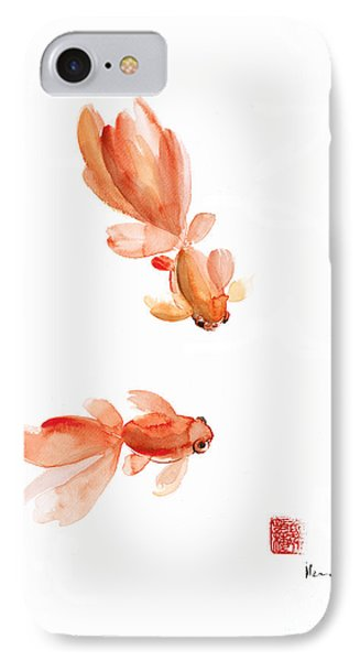Pisces Zodiac Fishes Orange Red  Pink Fish Water Goldfish Watercolor Painting IPhone Case by Johana Szmerdt