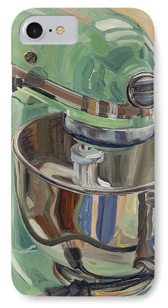 Pistachio Retro Designed Chrome Flour Mixer IPhone Case by Jennie Traill Schaeffer