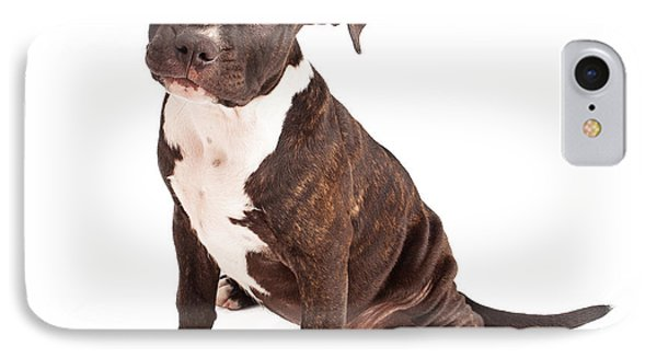 Pit Bull Puppy Black And White Phone Case by Susan Schmitz