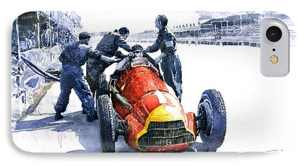 Pit Stop Alfa Romeo158 British Gp 1950 J M Fangio IPhone Case