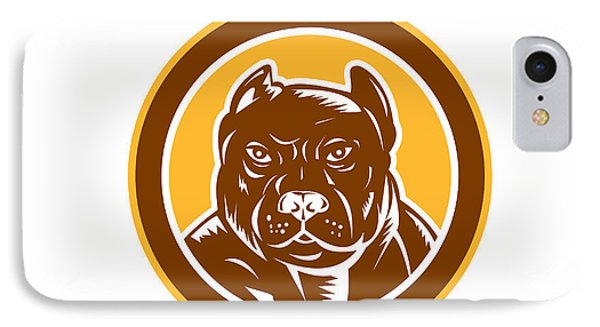 Pitbull Dog Mongrel Head Circle Woodcut Phone Case by Aloysius Patrimonio