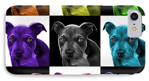 Pitbull Puppy Pop Art - 7085 V1 - M Phone Case by James Ahn