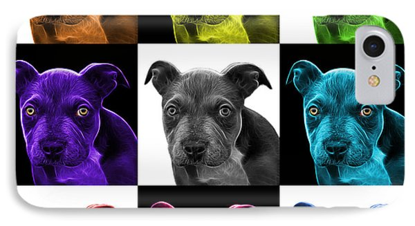 Pitbull Puppy Pop Art - 7085 V2 - M Phone Case by James Ahn