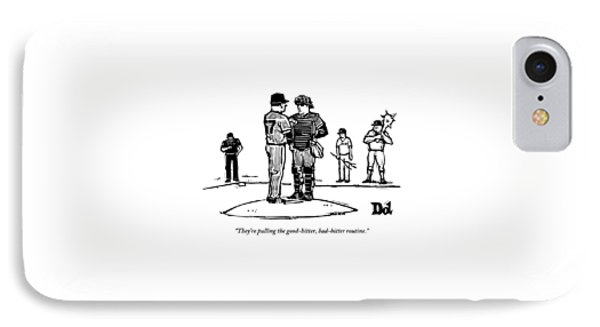 Pitcher And Catcher Stand On Pitcher's Mound IPhone Case by Drew Dernavich