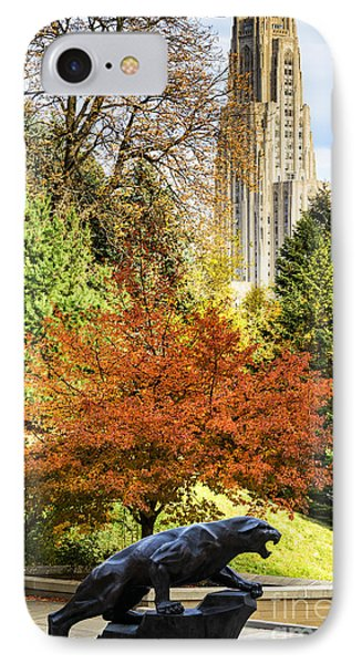 Pitt Panther And Cathedral Of Learning IPhone Case by Thomas R Fletcher