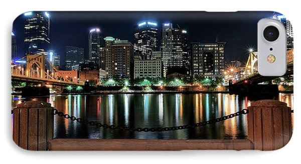 Pittsburgh At Night IPhone Case by Frozen in Time Fine Art Photography