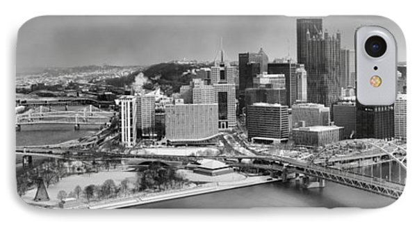 Pittsburgh Black And White Winter Panorama IPhone Case by Adam Jewell
