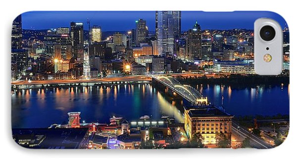 Pittsburgh Blue Hour Panorama IPhone Case by Frozen in Time Fine Art Photography