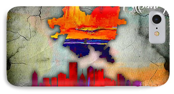 Pittsburgh Map And Skyline Watercolor IPhone Case by Marvin Blaine