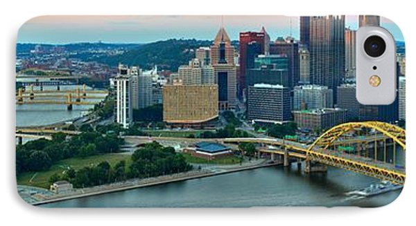 Pittsburgh Panorama At Dusk IPhone Case by Adam Jewell
