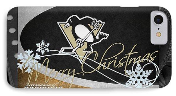 Pittsburgh Penguins Christmas IPhone Case by Joe Hamilton