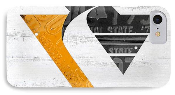 Pittsburgh Penguins Hockey Team Retro Logo Vintage Recycled Pennsylvania License Plate Art IPhone Case