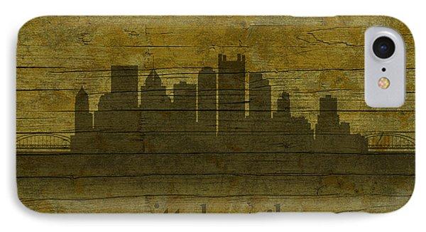 Pittsburgh Pennsylvania City Skyline Silhouette Distressed On Worn Peeling Wood IPhone Case